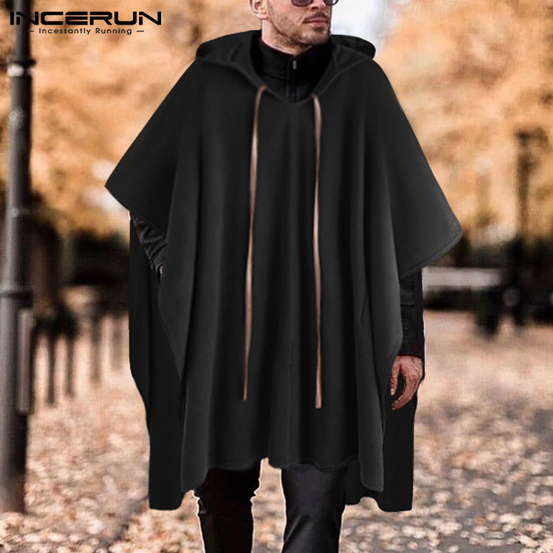 INCERUN Fashion Men Cloak Coats Hooded Solid Color Cape 2020 Streetwear Poncho V Neck Loose Coat Irregular Men Long Trench S-5XL