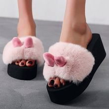 Fashion Beach Rabbit Ear Women Slip-on Open Toe Wedges Warm Winter Slipper Shoes Stylish beach warm slippers Women's slippers#g3(China)