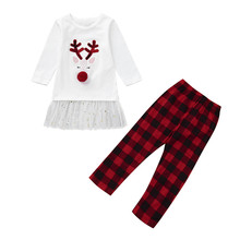 Get more info on the 2019 Fashion Toddler Kids Baby Girls l Letter T shirt Tops+Plaid Pants Christmas Clothes Set    9.3