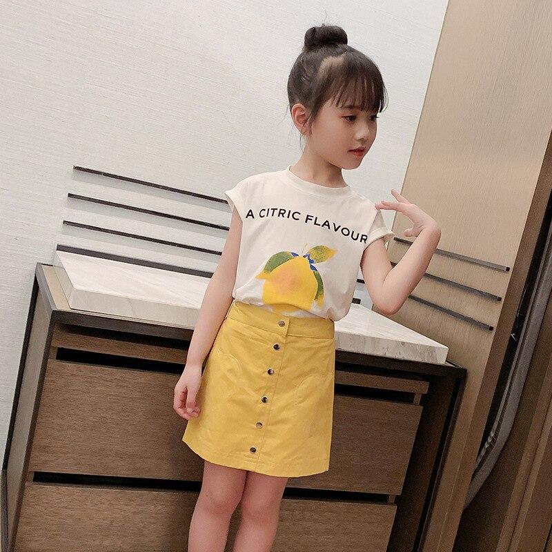 2021 Summer kids Girl Lemon T-shirt +skirt set  2 pcs D11.04 3
