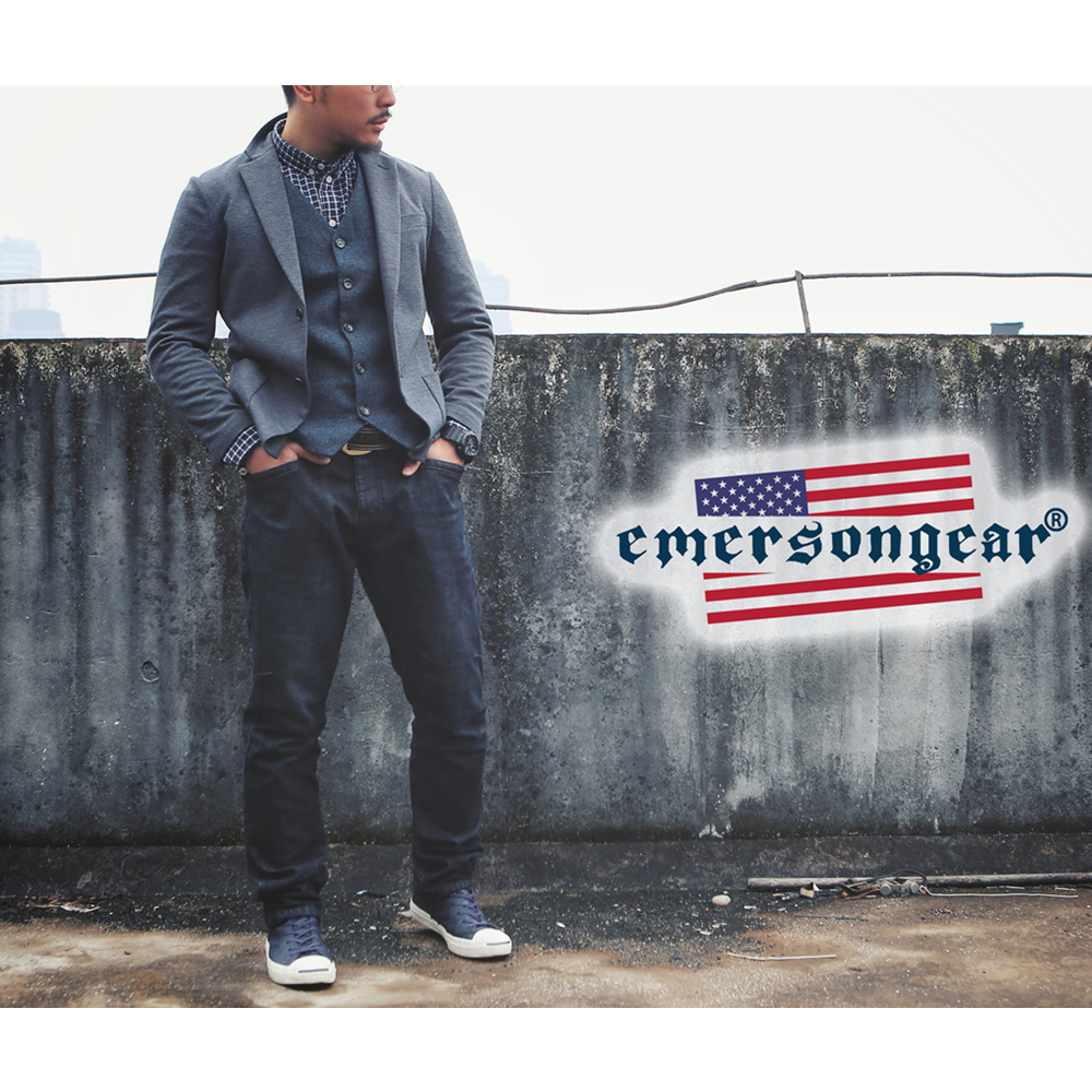 emersongear Emerson Blue Label Tactical Style Jeans Stretched Elastic Jeans Denim Black Trousers CS Wargame Airsoft Pants