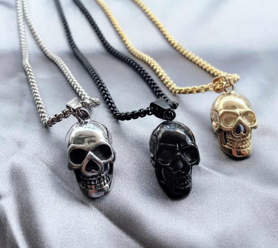 Moda Punk calavera colgante para hombre collar oro plata negro Color cadena enlace 20 pulgadas collares Cool joyería masculina