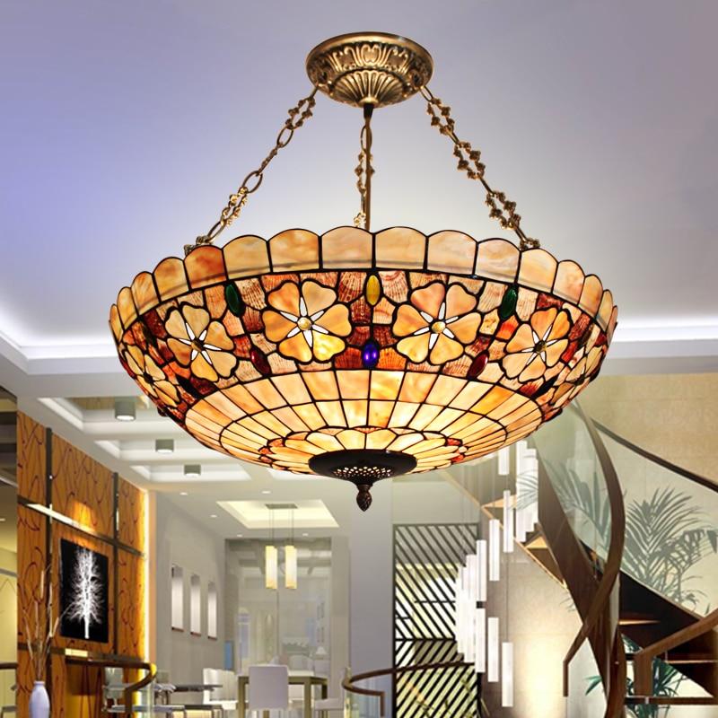 European Lighting Retro Atmosphere Lamp Shell Bedroom Study Room Coffee Hall Bar Home Anti Chandelier hanging lamp