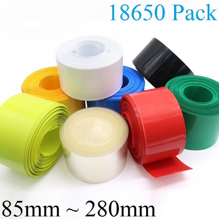 18650 AA Battery Sleeve PVC Heat Shrinkable Tube Wrap Red Width 85MM x 1M