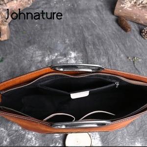 Image 5 - Johnature女性高級ハンドバッグ本革トートバッグレトロ手作りトーテム牛革女性のバッグ大容量ショルダーバッグ