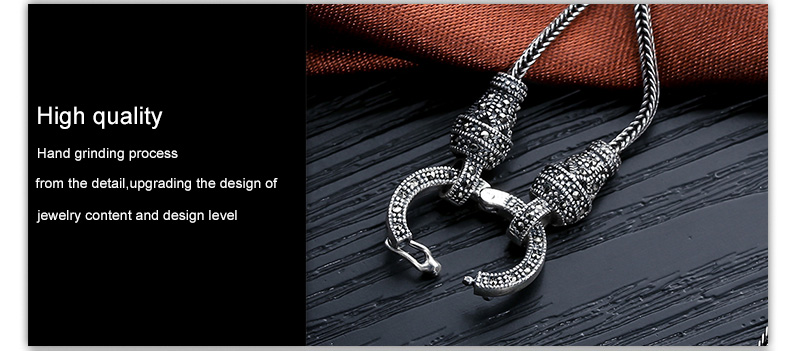 Hbe5f6b57cea341c3ab4f55507a81802bM - V.YA Thai Silver Long Chain Necklace for Women 925 Sterling Silver Marcasite Stone Pendant Necklaces 1.5mm 60cm 70cm 75cm 80cm