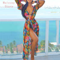 Women Chiffon beach cover up print long sleeve beach dress Beachwear Swimwear Bikini Cover Up Sunscreen Cardigans beach wear A1
