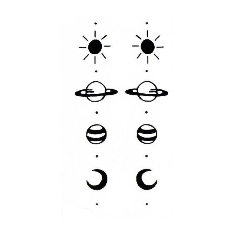 Водостойкая временная татуировка наклейка Солнце Луна Сатурн Татуировка ручная Татуировка тела вспышка fakeTattoo наклейка маленькая