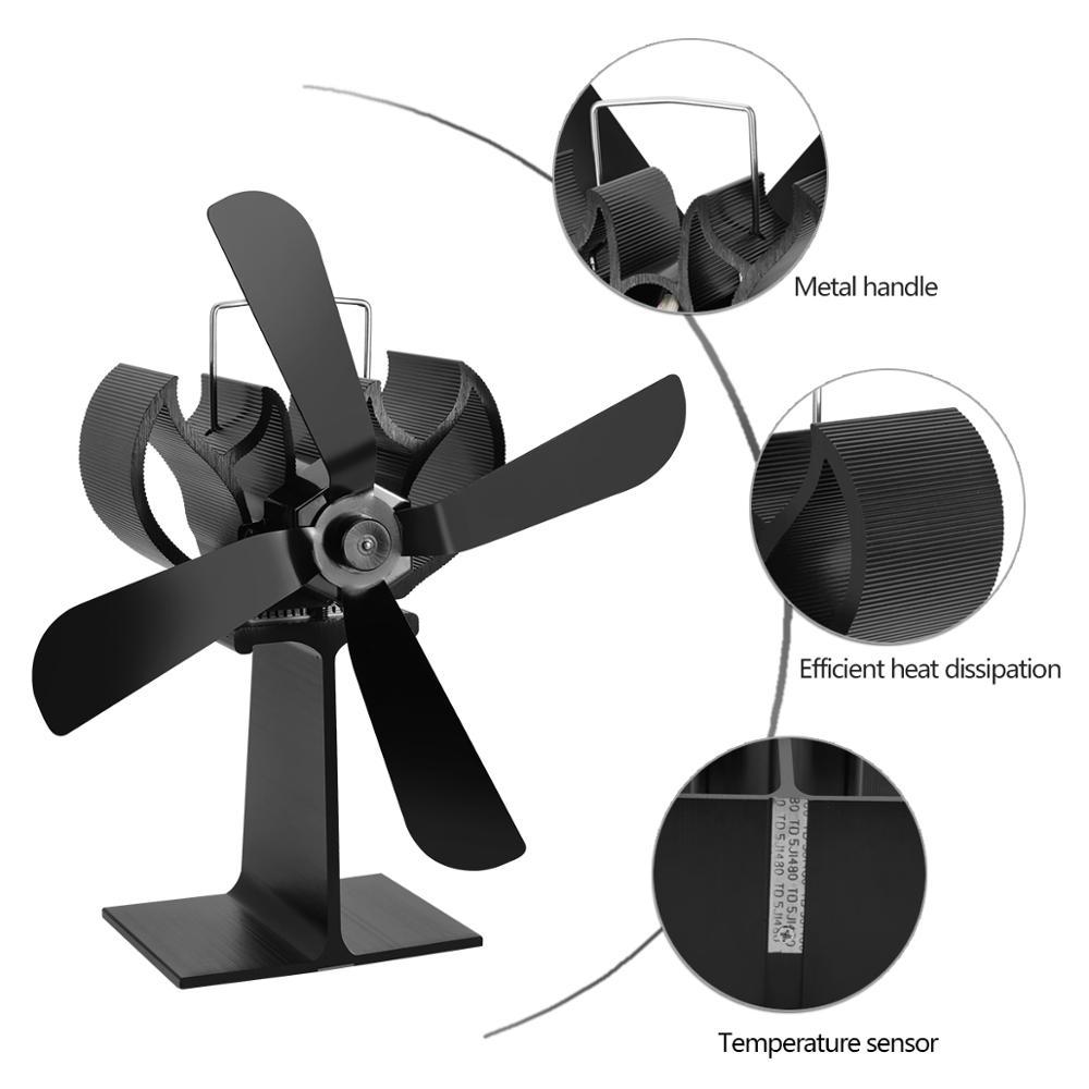 Efficient Heat Powered Stove Fan Log Wood Burner Eco Friendly Quiet Home Fireplace Fan Heat Distribution Fuel Saving 4 Blade