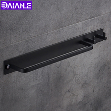 Space aluminum Black Towel Bar With Clothes Hook Hanger Single Holder Bathroom Accessories