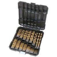 100Pcs Titanium-Coated HSS Mini Metal Drill Bit Set Woodworking Tools for Dremel Rotary with Plastic box