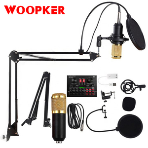 BM 800 Studio Condenser Microphone Kit Vocal Recording KTV Karaoke Microfone with Sound Card and Stand for PC Computer