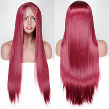 Wig Lace-Front Hair-Middle-Parting Synthetic-Hair Wine Heat-Resistant-Fiber Glueless