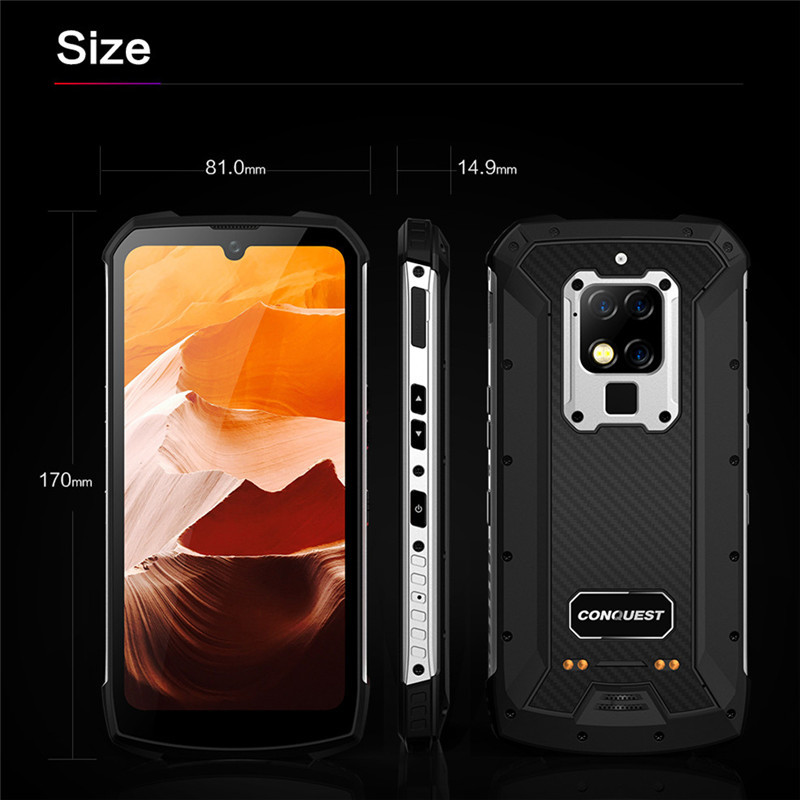 """CONQUEST S16 8GB 256GB 48mp shockproof Mobile Phone 6.3"""" Android 9.0 UV Detection Infrared Remote Control 4G Rugged Smartphone"""
