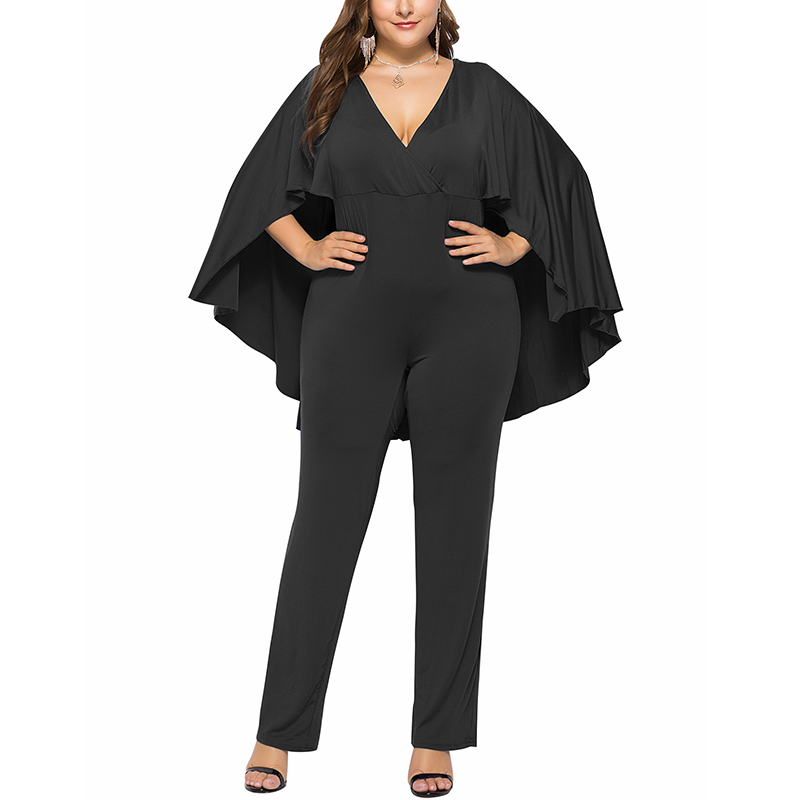 VICABO L-3XL Big Size Jumpsuit Women Solid Color Bodysuit Women Clothing Cape Sleeve Jumpsuits Women