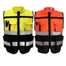 Chaleco reflectante de seguridad Unisex, ropa de trabajo de alta visibilidad, con múltiples bolsillos, de malla de advertencia de tráfico