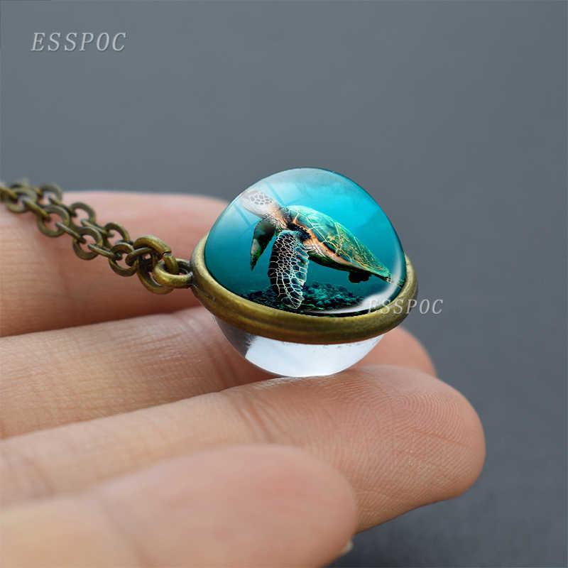 Laut Dua Sisi Bola Bola Kaca Kalung Bintang Laut Bintang Shell Keong Sea Turtle Dekorasi Perhiasan Liontin Wanita Hadiah