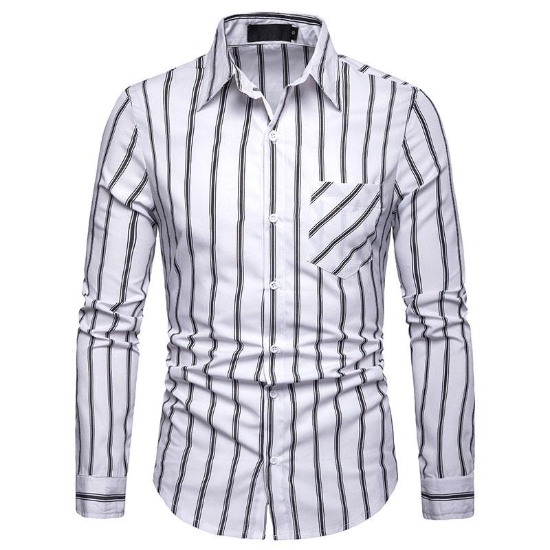 Mens Casual Button Down Dress Shirts 2019 Fashion Striped Shirt Men Long Sleeve Social Shirt For Business Man Camisa Masculina