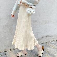 2019 Autumn Winter Knitted Skirts Women harajuku High Waist Long Plus Size black apricot Ruffles Skirt jupe femme faldas