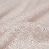 Light pink silver silk weave small fragrance wind tweed cloth autumn and winter women's coat clothing custom fabrics