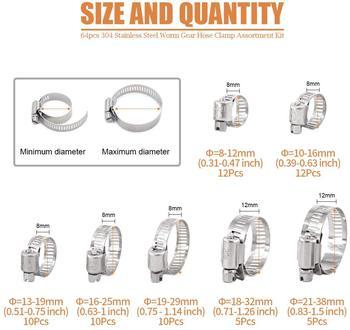 Kit d'assortiment de colliers de serrage pour tuyaux réglables, 8 à 38mm de diamètre, 64 pièces