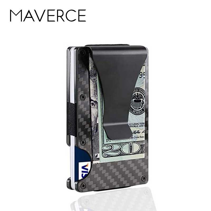 Carbon Fiber Credit Card Holder RFID Non-scan Metal Wallet Purse Male Business C