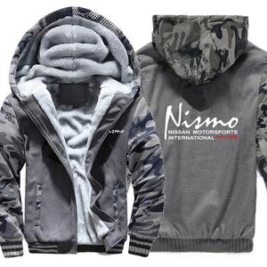 Image 2 - Nissan Nismo Hoodies Camouflage mouw Jasje Hoody Rits Winter Fleece Nissan Nismo Sweatshirt