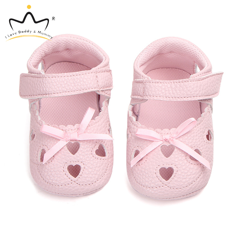 Summer New Soft Cotton PU Leather Baby Girl Shoes Cute Love Heart Bows Baby Shoes Princess Shoes For Newborn Toddler