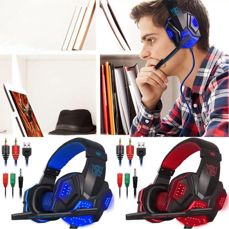 New Gaming Headphones Wired Gamer Headset Stereo Sound Over Ear Earphone with Mic and LED Light for PC Laptop Computer Headphone
