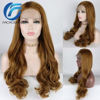 FACHOUFEE ciało fala syntetyczne peruki do włosów dla kobiet długie brązowe kolor włosów peruki na przyjęcie korzystnym cenowo sklepie peruki typu front lace bez kleju tanie i dobre opinie YOMAGIC Chiny Średnia wielkość Średni brąz Swiss koronki