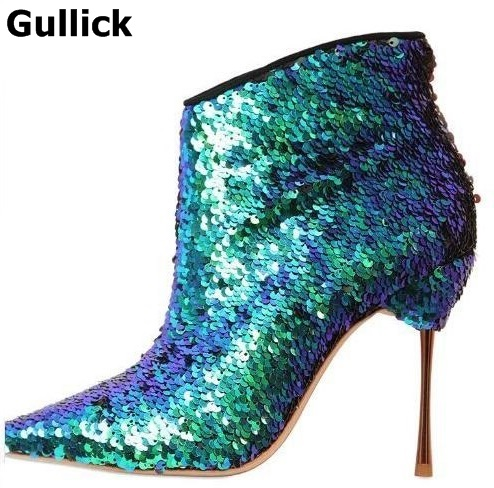 Bling Sequin-Embellished Ankle Boots Women Metallic Leather Gold-tone Stiletto Heels Bootie Pointed toe Side Zipper