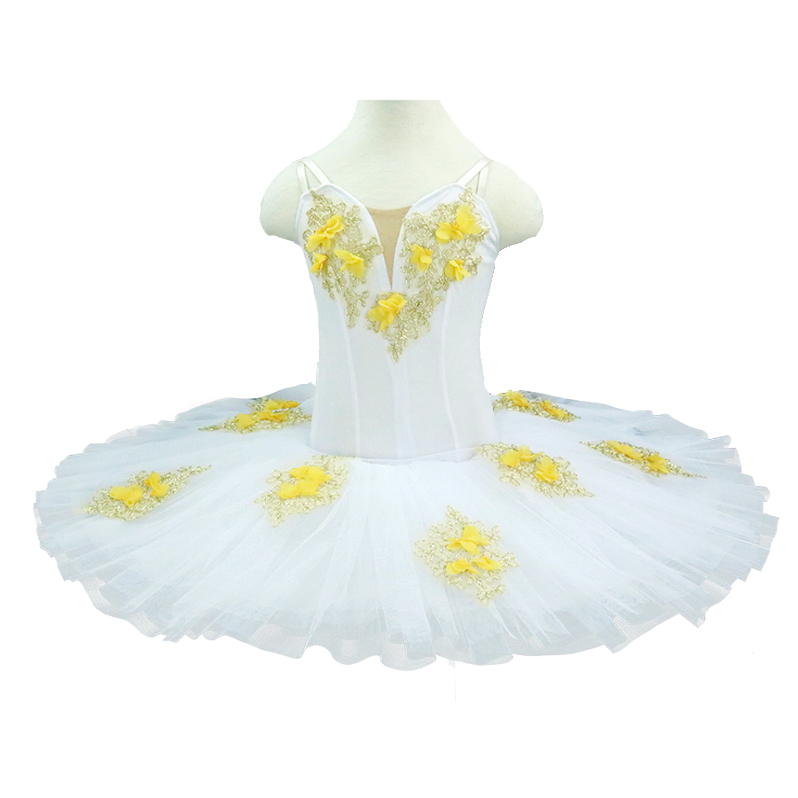 Girls leeping beauty professional ballet tutus flower fairy child performance stage costumes pancake tutu dress white velvet