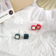 New Asymmetrical Small Square Stud Earrings Women Fashion Korean Temperament Delicate Gift for Girl