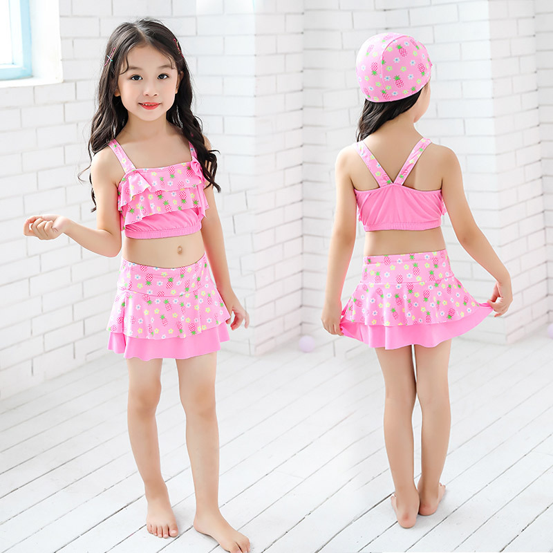 KID'S Swimwear Cartoon Pineapple Girls' Two-piece Swimsuit Bikini Swimwear Small Middle And Large GIRL'S Tour Bathing Suit Whole