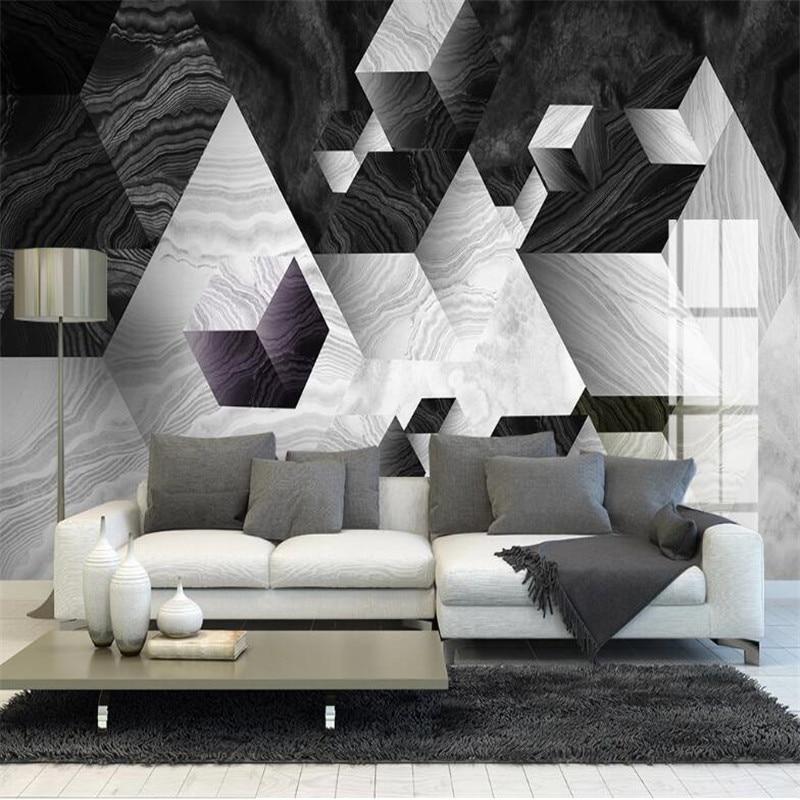 Large 3D Wallpaper Mural Custom Modern 3d Three-dimensional Geometric Marble Jazz White Background Wallpaper Mural