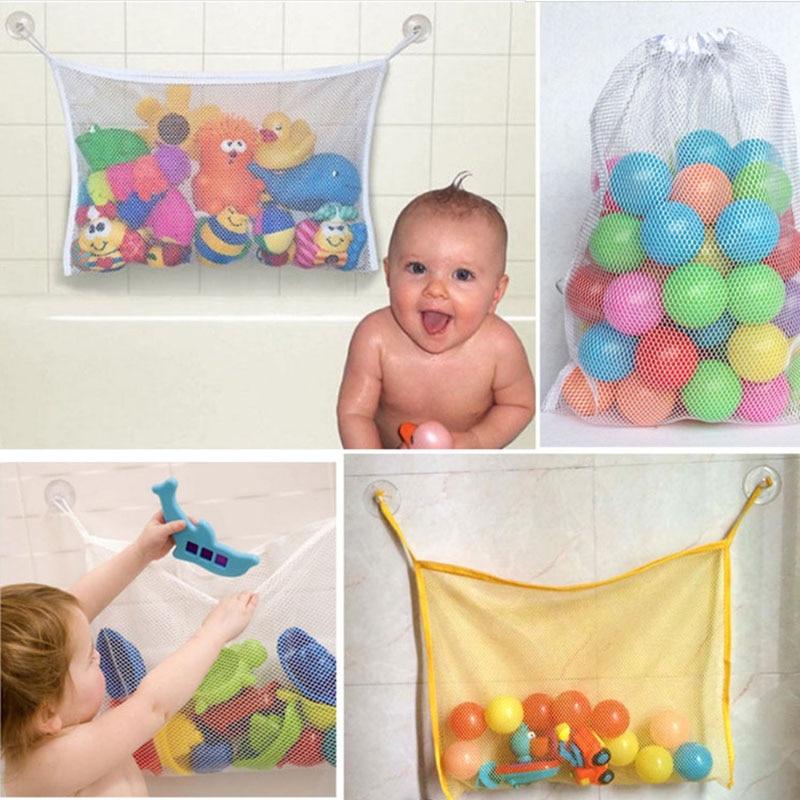 Children's 45*35CM Kids Baby Bath Tub Toy Tidy Storage Suction Cup Bag Mesh Bathroom Newborn Gift Net Free Shipping