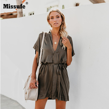 цены Missufe Summer New Fashion V Neck Button Binding Bow Wrap Casual Dress Tie Waist Sexy Loose Mini Sundress Elegant Party Vestidos