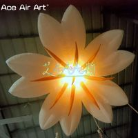 1 Lot inflatable flowers with 3w lights,2m diameter with interior blower hanging decoration for party