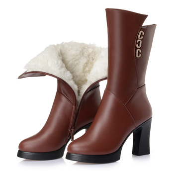 AIYUQI WinterWomen boots thickening warm snow boots genuine leather female fashion wool lining long boots motorcycle boots women
