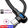 Кабель USB Type-C, 2,4 А, светодиодный кабель USB C для быстрой зарядки Huawei S10, USBC, Type-c, зарядное устройство для синхронизации данных для Xiaomi, Samsung, шнур...
