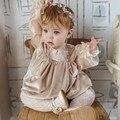 Для маленьких девочек со сборками ползунки младенческой халат ручной комбинезон одежда для маленьких девочек в винтажном стиле; Бархатный ...