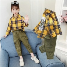 2020 New Spring Autumn Children Clothing Cotton Baby Girls Plaid Shirt Overalls Pants Sets For Girls Kids Clothes Girls Sets