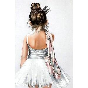 DIY 5D Full round Diamond Painting Cross Stitch Ballerina girl Diamond Embroidery pattern rhinestone Painting Home decor(China)