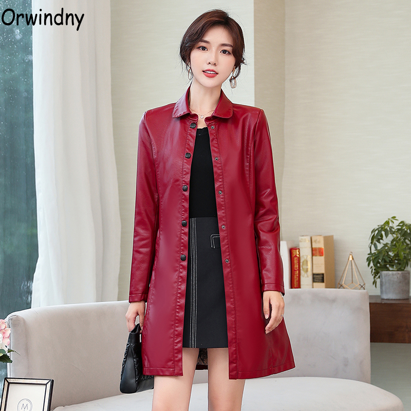 Orwindny High Quality Women's   Leather   Trench Faux   Leather   Coat Plus Size S-4XL Female Jacket Turn-down Collar jaqueta feminina
