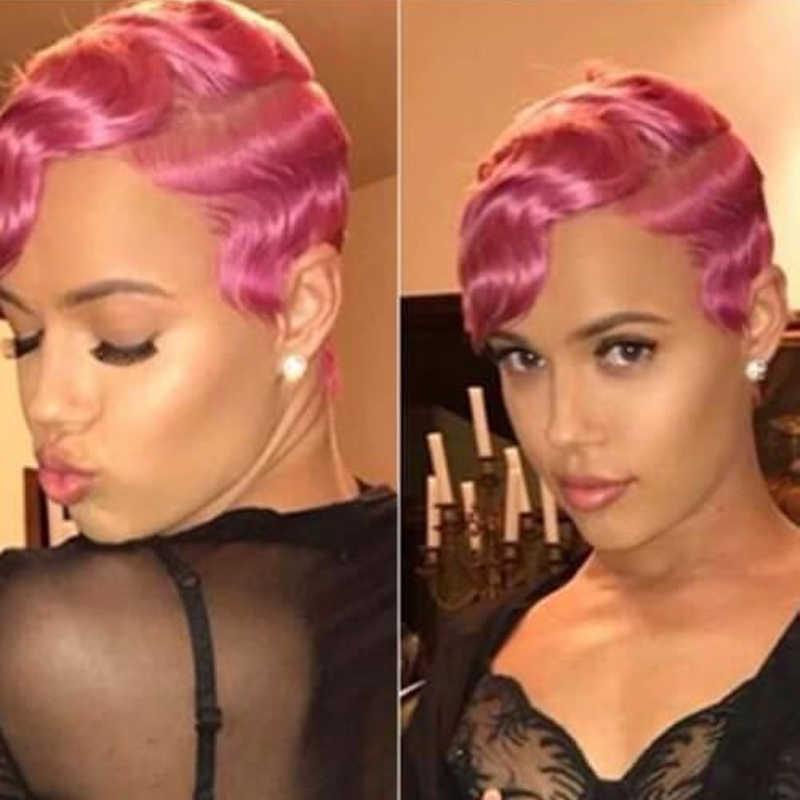 Yellow Finger Wave Short Bob Human Hair Wigs Machine Made Pixie Cut Wigs For Black Women Natural 613 99j Color Human Hair Lace Wigs Aliexpress