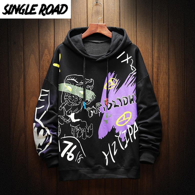 SingleRoad Oversized Men's Hoodies Men Hip Hop Anime Sweatshirt Male Harajuku Japanese Streetwear Black Hoodie Men Sweatshirts