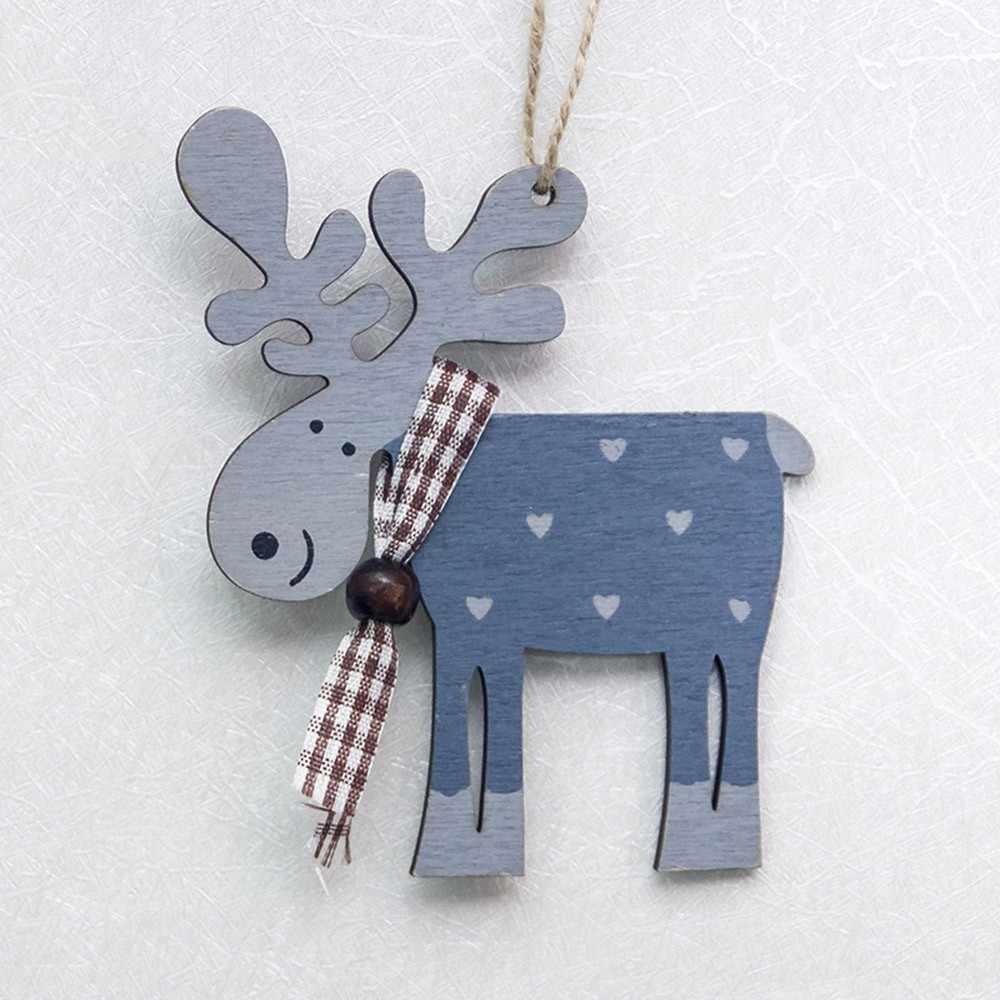 6 sztuk ozdoby choinkowe sosna malowane drewno ełk wisiorek dekoracja na choinkę wystrój bożonarodzeniowy ozdobne jelenie ^ 40