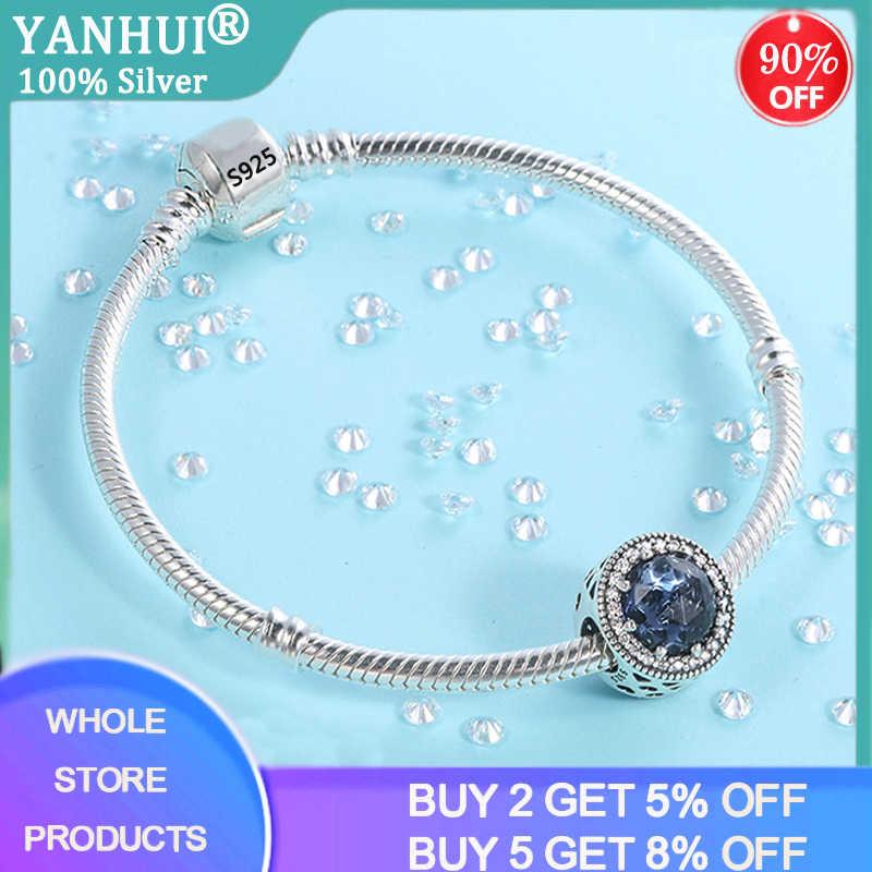 Yanhui 100% Ban Đầu Bạc 925 Vòng Tay Với Pha Lê Xanh Dương Vòng Tay Nữ Món Quà Cưới Trang Sức HB067
