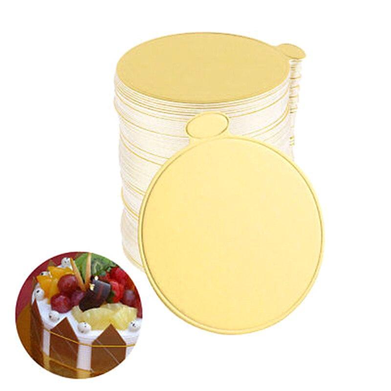 100pcs/Set Round Mousse Cake Boards Gold Paper Cupcake Dessert Displays Tray Wedding Birthday Cake Pastry Decorative Tools Kit
