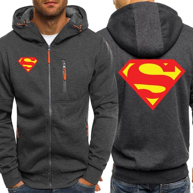 Super homem logotipo dos homens hoodies outono novo zíper jaqueta venda quente com capuz moletom casual casaco roupas esportivas marca masculina agasalho